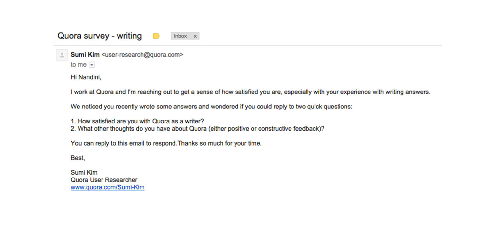 how to ask for customer feedback by email