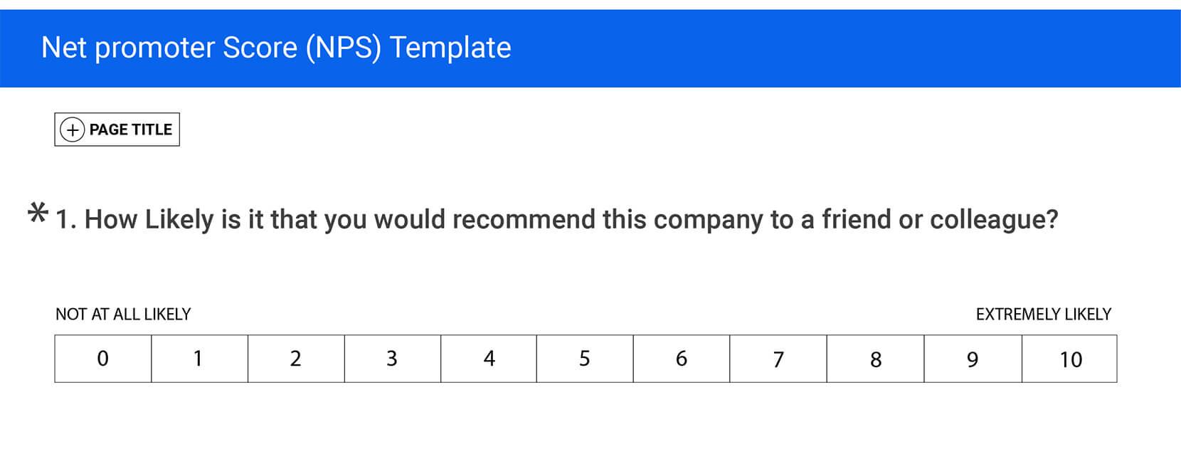 NPS Survey Questions rating